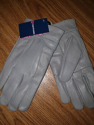 Ladies Soft Leather Lined Warm Winter Gloves with Bow M/L