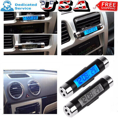 2in1 LED Digital Car Air Vent Clock Thermometer Temperature Auto LCD Backlight