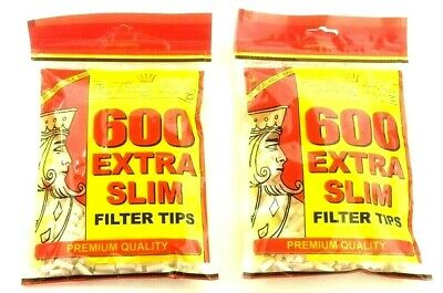 2 x 600 EXTRA SLIM FILTER TIPS by ROLLING KING CIGARETTE RYO TIP RESEALABLE BAG
