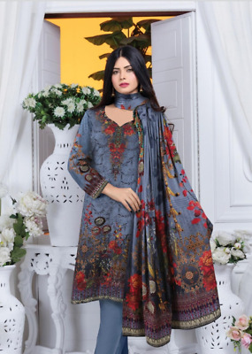 Alaya stapel Slub unstitched salwar kameez embroidered front with sequins 3pc