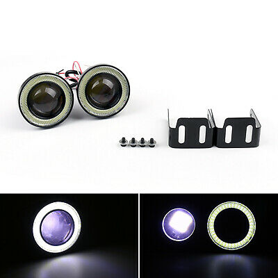 2pcs 2.5'' High Power Projector LED Fendinebbia w/White COB Halo Angel Eye Rings