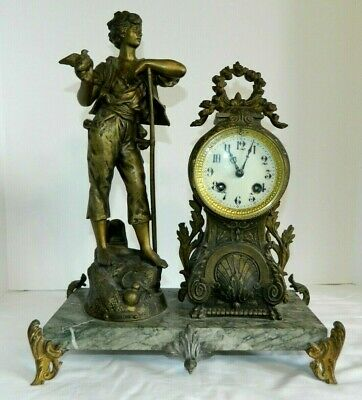 1900's Societe Clusienne SCAPH Cluses French Figural Mantel Clock Working Titled