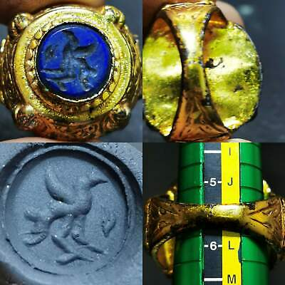 Antique Beautiful Lapis lazuli stone Eagle intaglio stone Unique Ring    #84