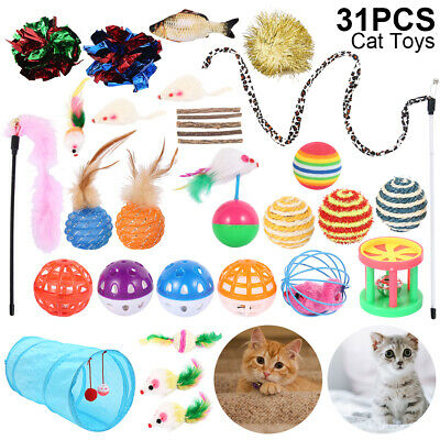 31x Bulk Cat Toys Kitten Rod Mouse Feathers Bells Ball Fur Scratch Teaser Rat AU