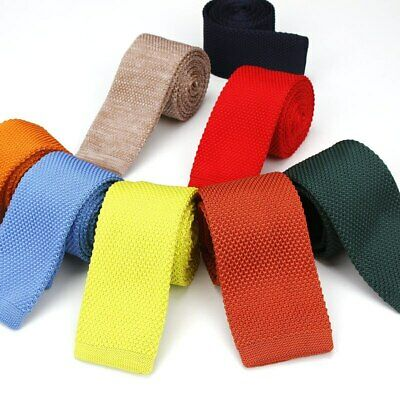 Men's Knit Tie 6CM Skinny Knitted Necktie Narrow Slim Solid Knitting Neck Ties
