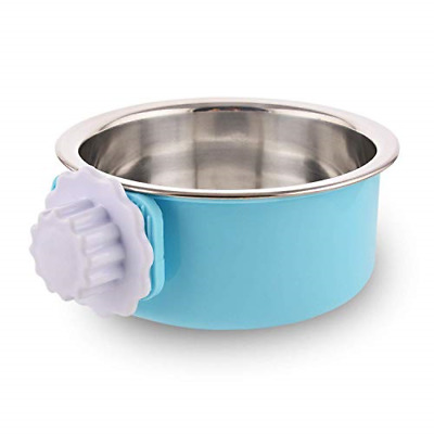 MOACC Crate Dog Bowl, Removable Stainless Steel Dog Bowl with Plastic Puppy Food