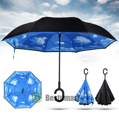 Reverse Inverted Windproof Astronaut In Galaxy Play The Guitar Umbrella Double Layer Inside Out Folding Umbrella Upside Down Umbrellas with C-Shaped Handle for Women and Men