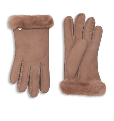 NWT Ugg Leather Shearling Fur Gloves, New Pink, Women's Size Medium M, MSRP $140