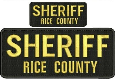 Sheriff embroidery patches 4x10 and 2x5 hook on back silver letters