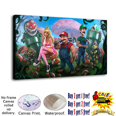 "12""x22"" Super Mario Poster HD Canvas prints Painting Home decor Wall art Picture"