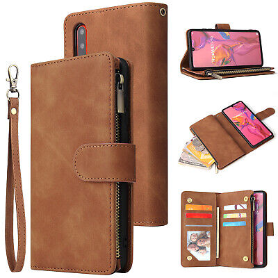 Leather Wallet Zip Coin Purse Card Slot Flip Case Cover For Huawei P30 Pro P30