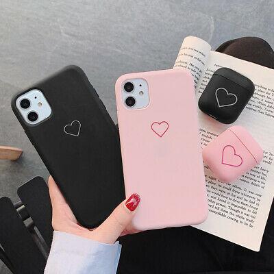 Cute Heart Pattern Case For Apple Airpods iPhone 7 8 11 XR Shockproof Skin Cover