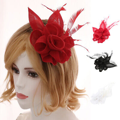 Feather Fascinators Women's Bridal Flower Derby Hat Tea Party with Headbands