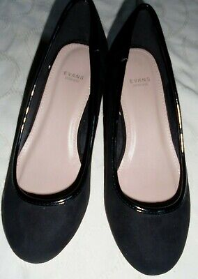 Evans Extra Wide Black Faux Suede Slip On Shoes,2Ins Wedges, 6Eee