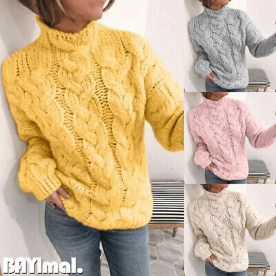 Womens Knitted Cable Long Sleeve Sweater Ladies Casual Warm Jumper Pullover Tops