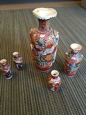 Antique Chinese Clay Vases Set 3D Relief 5 Pieces Red Blue Tan