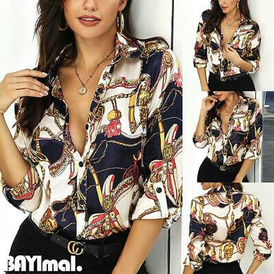 Women Chain Print Long Sleeve Shirts Ladies Casual Loose Button Down Blouse Tops