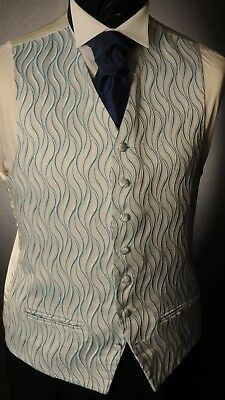 Cw25. Mens/Boys Turquoise Wave Waistcoat /Dress/ Suit/ Party/Formal/Wedding
