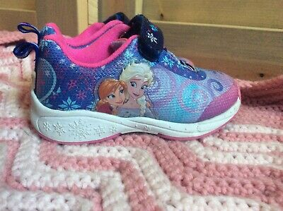 Disney Frozen Elsa And Anna Girls Sneakers Blue Purple Pink Toddler Size 7