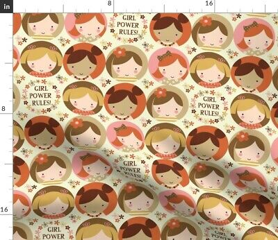 Girl Flower Power Faces Dolls Girls Women Fabric Printed by Spoonflower BTY