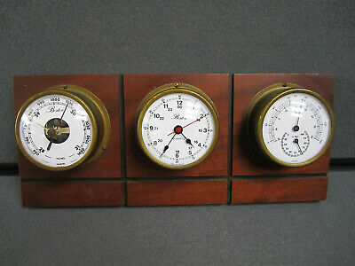 Vintage Boston Nautical Weather Station Barometer Thermometer Clock France Made