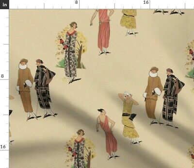 Twenties Fashion Art Deco Flapper Retro Fabric Printed by Spoonflower BTY
