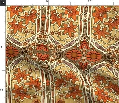 Fall Colors Art Nouveau Delicate Lace Fabric Printed by Spoonflower BTY