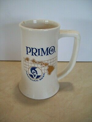 Vintage PRIMO HAWAIIAN BEER Mug Stein Ceramic - Ivory Colored Bar Ware.