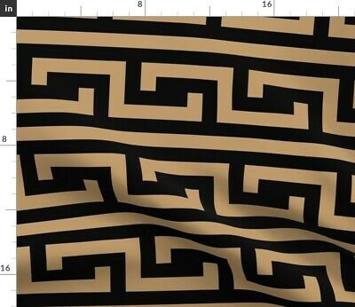 Greek Ancient Pottery Meander Camel Brown Fabric Printed by Spoonflower BTY