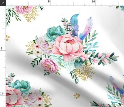 Pink Floral Feathers Blue Green Flowers Boho Fabric Printed by Spoonflower BTY