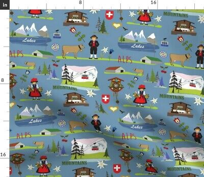 Swiss Alpine Mountains Chalet Cuckoo Clock Fabric Printed by Spoonflower BTY
