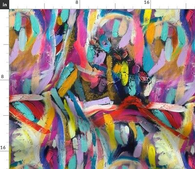 Abstract Art Colorful Painting Rainbow Colors Fabric Printed by Spoonflower BTY