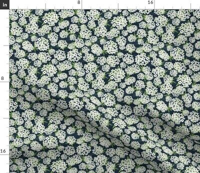 Navy And White Cream Alyssum Floral Blue Fabric Printed by Spoonflower BTY