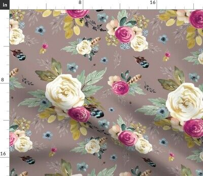 Taupe Pink Floral Flowers Boho Feathers Fabric Printed by Spoonflower BTY