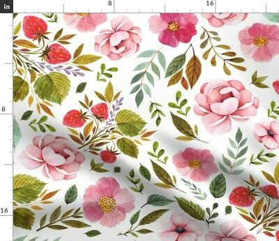 Baby Girl Pink Strawberry Roses Floral Flowers Fabric Printed by Spoonflower BTY