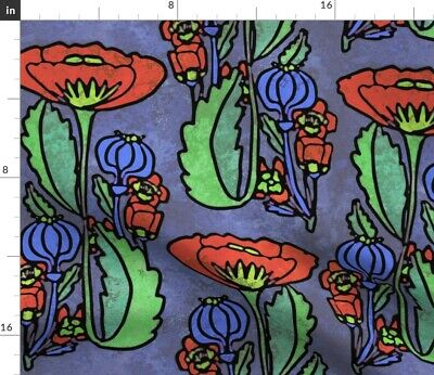 Poppy Floral Arts And Crafts Style Art Deco Fabric Printed by Spoonflower BTY