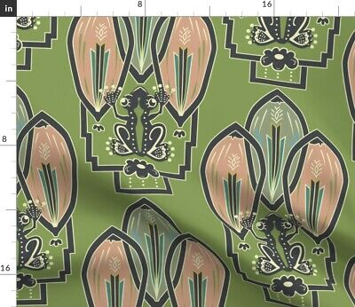 Frog 1920S Style Art Decor Green Artwork Fabric Printed by Spoonflower BTY