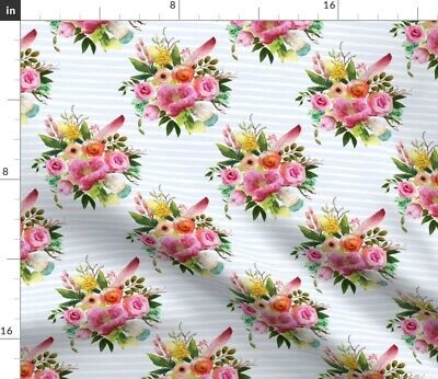Boho Floral Stripe Roses Feathers Pink Flowers Fabric Printed by Spoonflower BTY