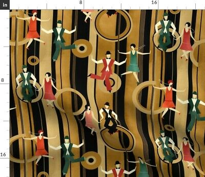 1920S Dance Charleston Art Deco Swing Music Fabric Printed by Spoonflower BTY