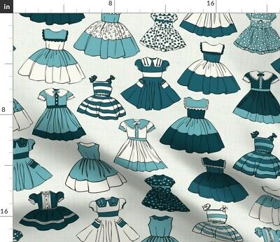 1950S Girls Dresses Children Kids Blue Fabric Printed by Spoonflower BTY