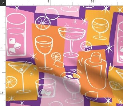 Prohibition Cocktails Drinks Beverages Alcohol Fabric Printed by Spoonflower BTY