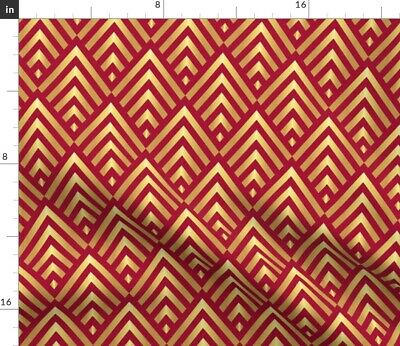 Red Gold Art Deco Stripes Vintage 1920S Fabric Printed by Spoonflower BTY