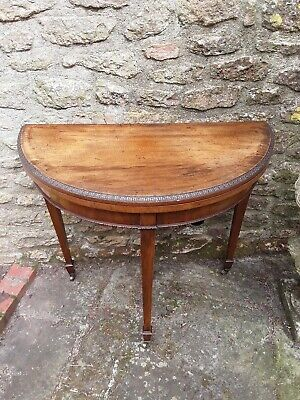 Superb Antique Georgian Demi Lune Card Table - Side / Lamp Table