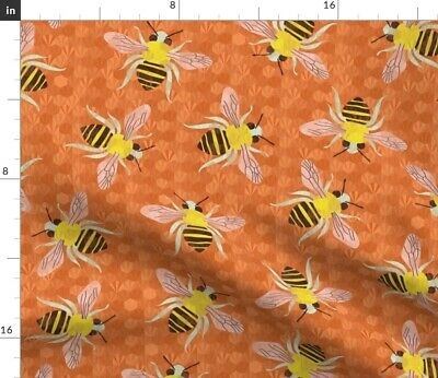 Honeycomb Hexagons Bees Woodland Tails Yellow Cotton Fabric Print BTY D768.29