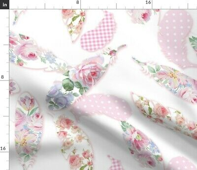 Feather Flowers Floral Birds Pink Polka Dots Fabric Printed by Spoonflower BTY