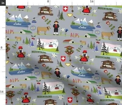 Switzerland Europe Alpine Chalet Cuckoo Clock Fabric Printed by Spoonflower BTY