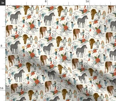 Children Horses Kids Girls And Brown Red Fabric Printed by Spoonflower BTY