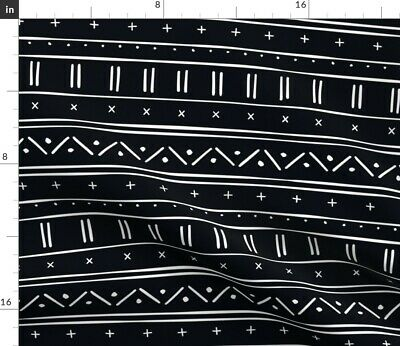 Mudcloth Black And White Mud Cloth Hand Drawn Fabric Printed by Spoonflower BTY