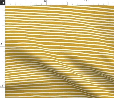 Gold Mustard Yellow Dark And White Stripes Fabric Printed by Spoonflower BTY