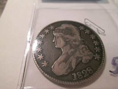 1828 Bust Half Dollar Square 2 Small 8 Obverse Scratches   507